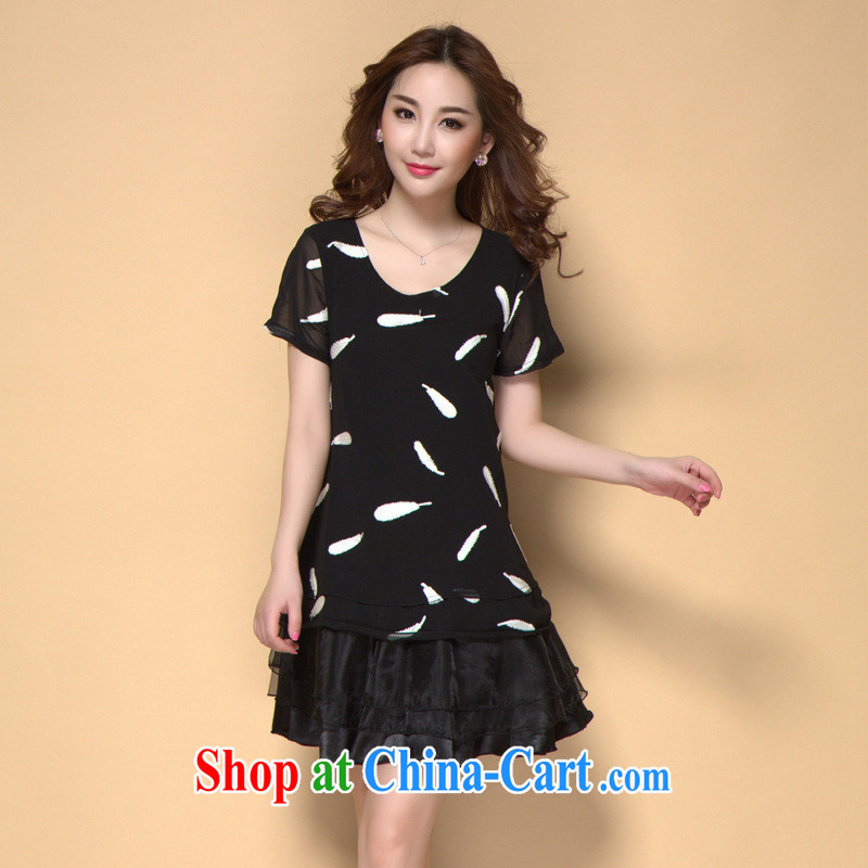 Ya-ting store 2015 spring and summer with new women replacing the code with high-end european feather stamp snow woven dresses picture color XXXXL