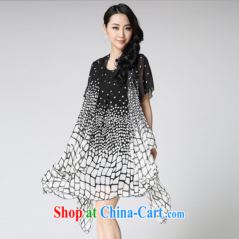 Ya-ting store 2015 summer new, large, round-neck collar does not rule out the gradient short-sleeved snow woven dresses red XXXL