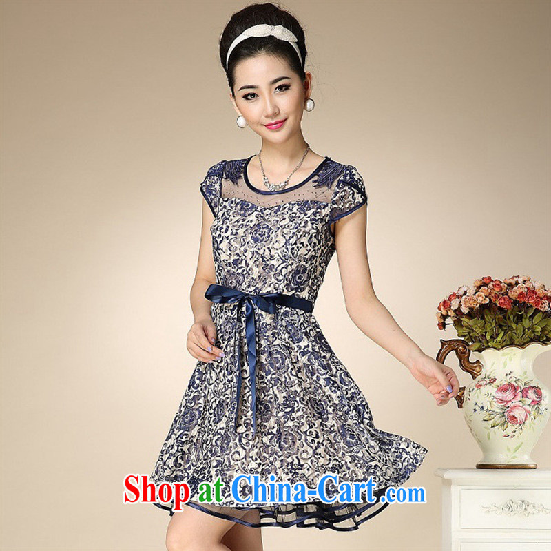 Ya-ting store summer 2015 new middle-aged and older dresses temperament mother load XL snow woven dresses picture color 4 XL