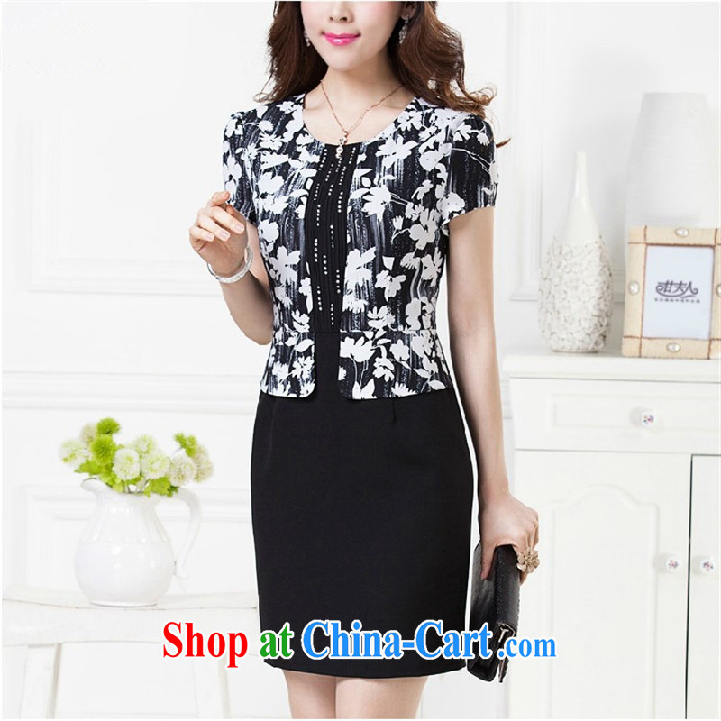 Ya-ting store women's clothing new products in the old code cultivating charisma dress mom with summer white-on-black suit 3 XL _180 100 A_