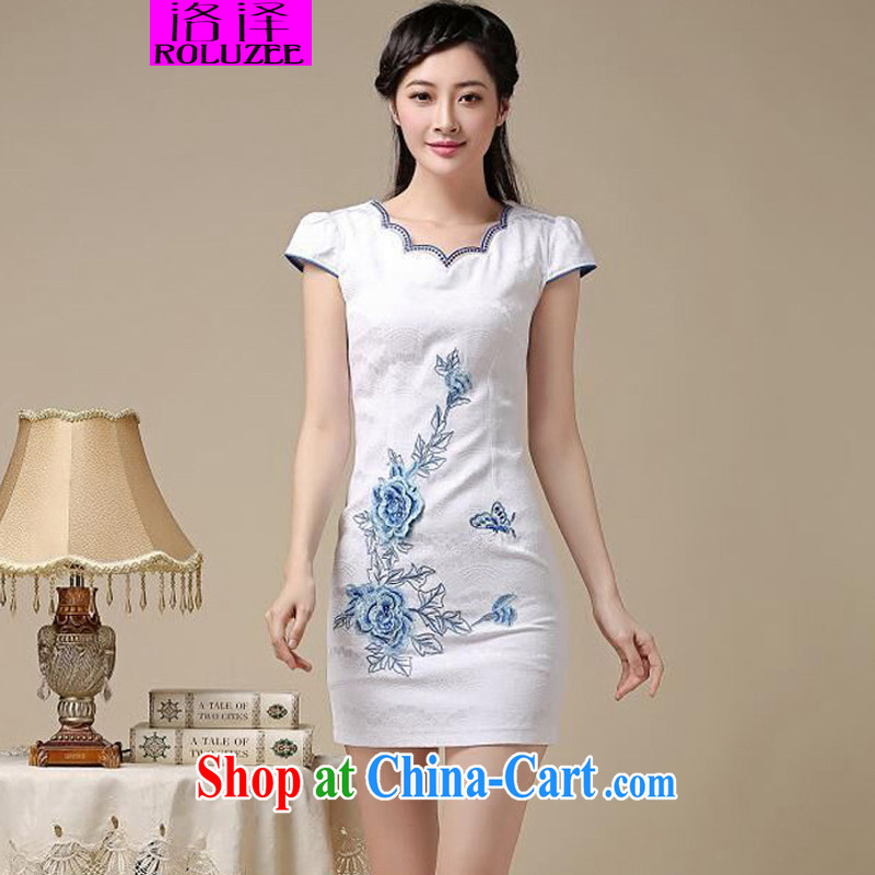 Los Angeles Summer 2015 new ladies short, cultivating embroidered cheongsam dress Blue on white flower XXL