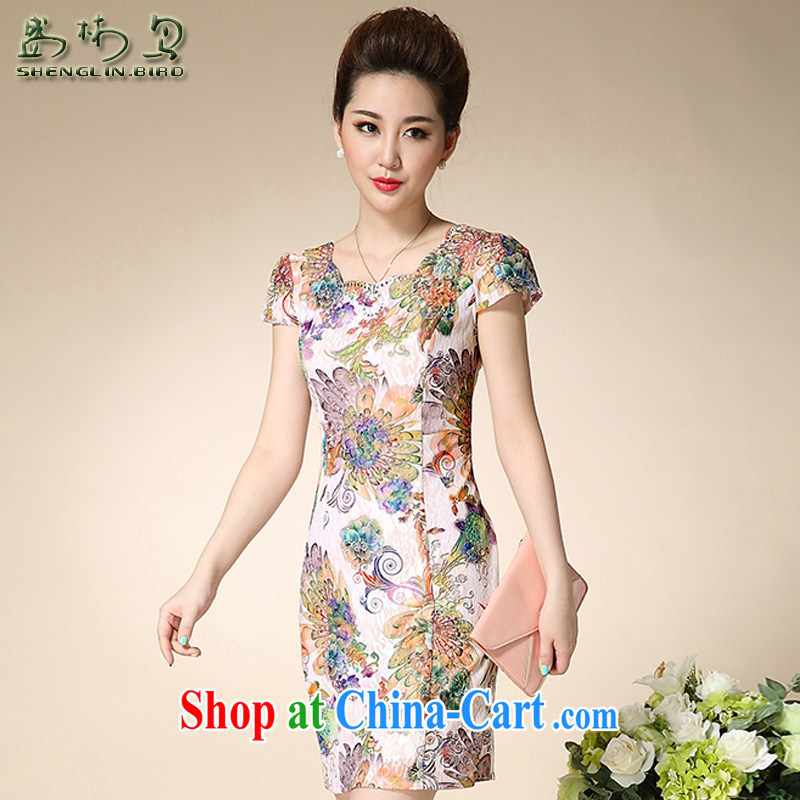 Summer new retro elegant refined and stylish beauty lace cheongsam dress female sung lim bird 2015 the payment package mail Bong-tail flowers XXXL