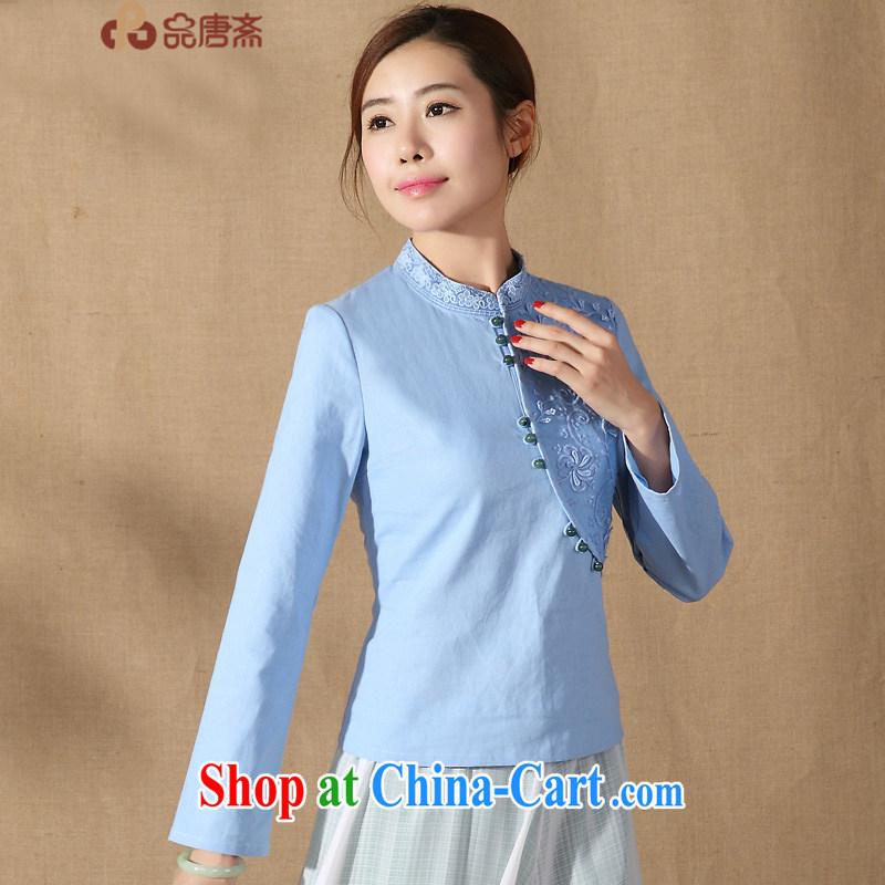 Chinese, Han-improved long-sleeved-tie 2015 spring new stylish, for Chinese Women dresses T-shirt blue XXL