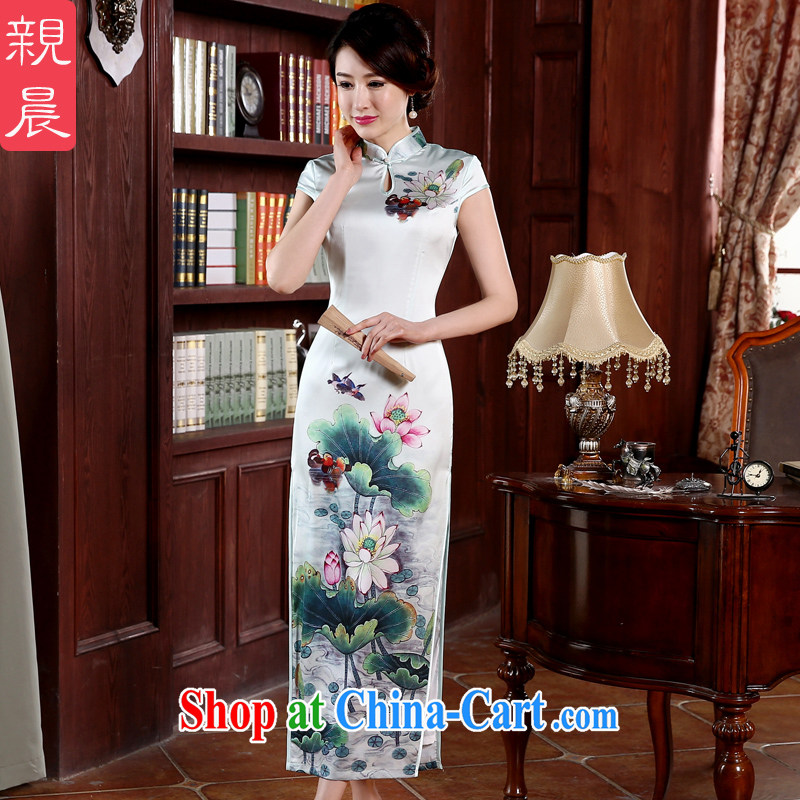 pro-am 2015 new spring dresses dresses summer day-long Ms. lotus flowers, cheongsam dress improved stylish Lotus Yuan Yang 2 XL