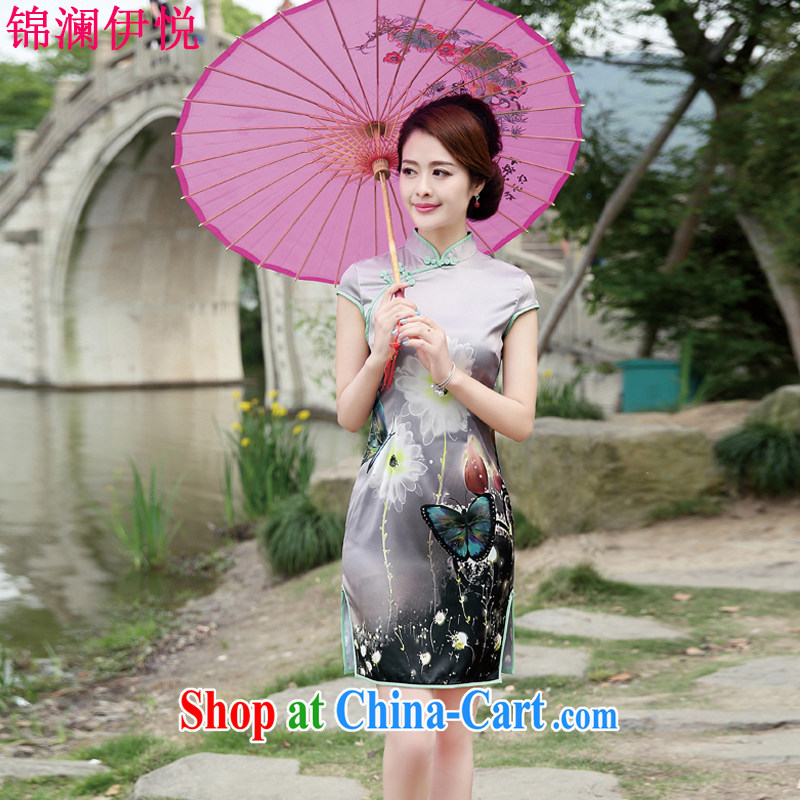 Kam-world, Sheung Shui Yue stamp flowers improved emulation Silk Cheongsam dress beauty and stylish lady with her mother, Ms. summer dress with retro women marry the code the gray butterfly M