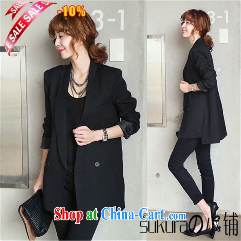 Ya-ting store summer 2015 new dress jacket, long Korean version the code graphics skinny suit attire and fashionable black M