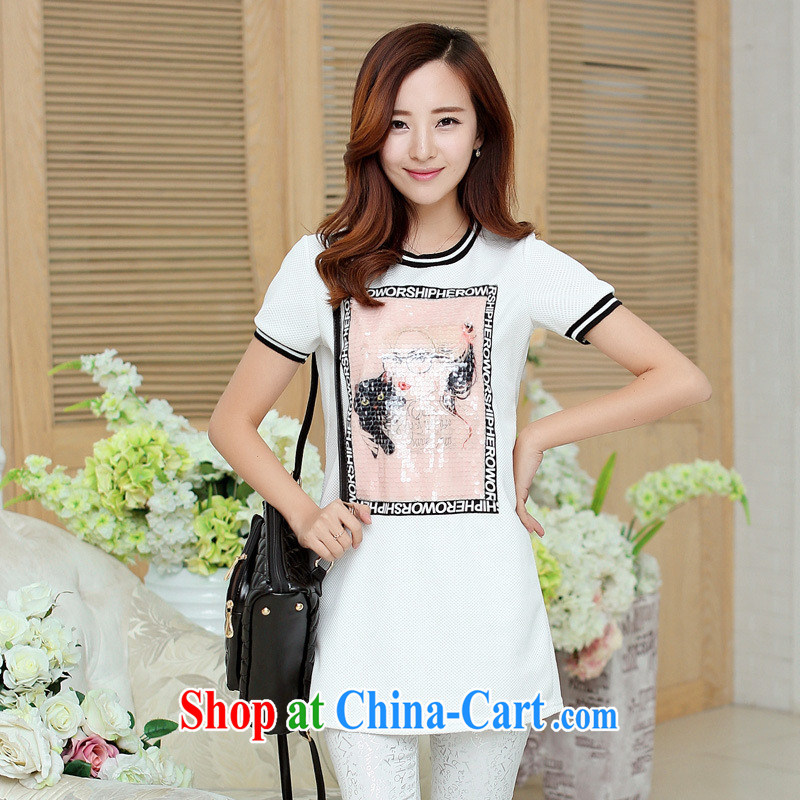 Ya-ting store T-shirt girl, long, summer new female Korean-style stamp-T pension trends black XL