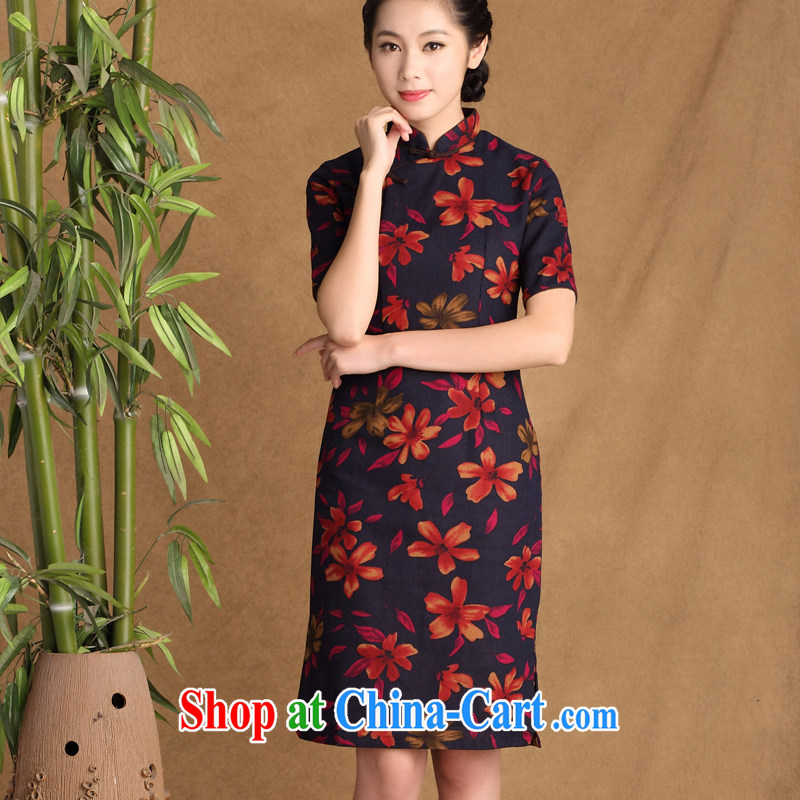 The cross-sectoral Elizabeth Woo, first 2015 spring and summer new retro style improved daily outfit cotton Ma arts cheongsam dress QK ctb 647 2 XL