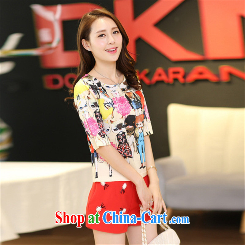 Ya-ting store 2015 summer new female Korean round-collar short-sleeve stamp graphics thin two-piece shorts hot pants snow woven shirts black XL