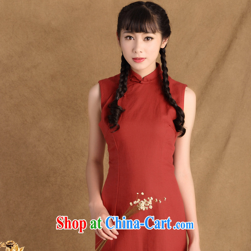 The cross-sectoral profile Elizabeth had 2015 spring new women with improved daily Korea cheongsam dress dresses sleeveless cotton the cheongsam ctb QP 786 scarlet 2XL