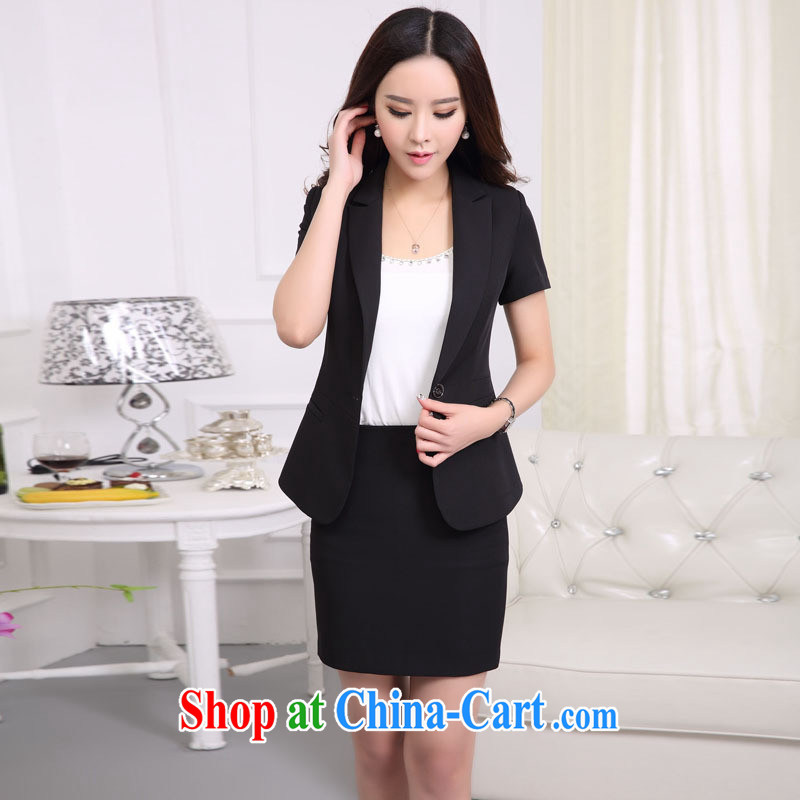 Ya-ting store small suits further skirts girls short skirts 2015 new stylish 100 ground white-collar style career women with two-piece fashion black XL