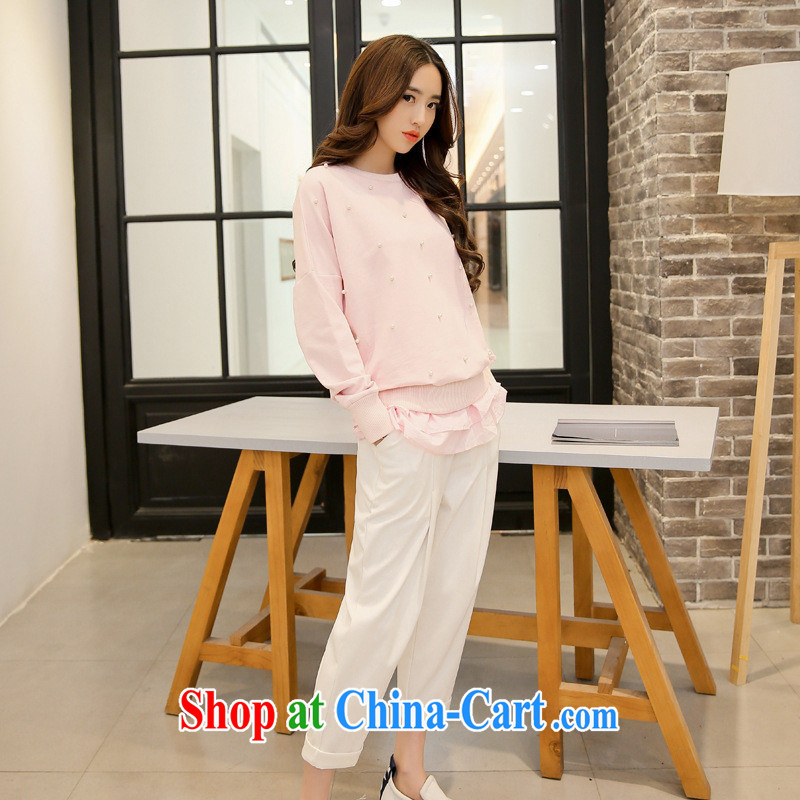 Ya-ting store 2015 spring new female round-collar short and long-sleeved solid color graphics thin beauty two-piece T shirt trousers female white XL