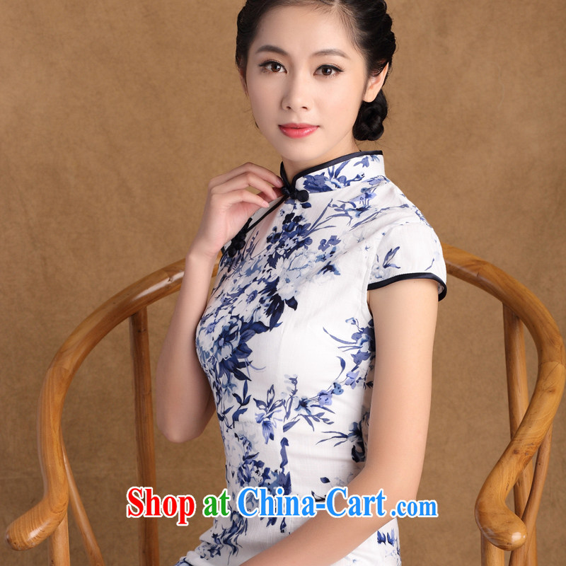The cross-sectoral extension Elizabeth, New summer new stretch cotton Ma daily improved short cheongsam daily improved porcelain was cheongsam dress SZ M 815 2 XL