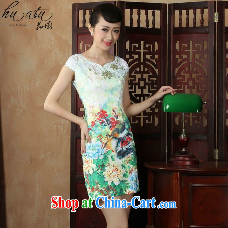 spend the summer with new female dresses daily improved short retro dresses dresses beauty classical Chinese qipao figure color XL