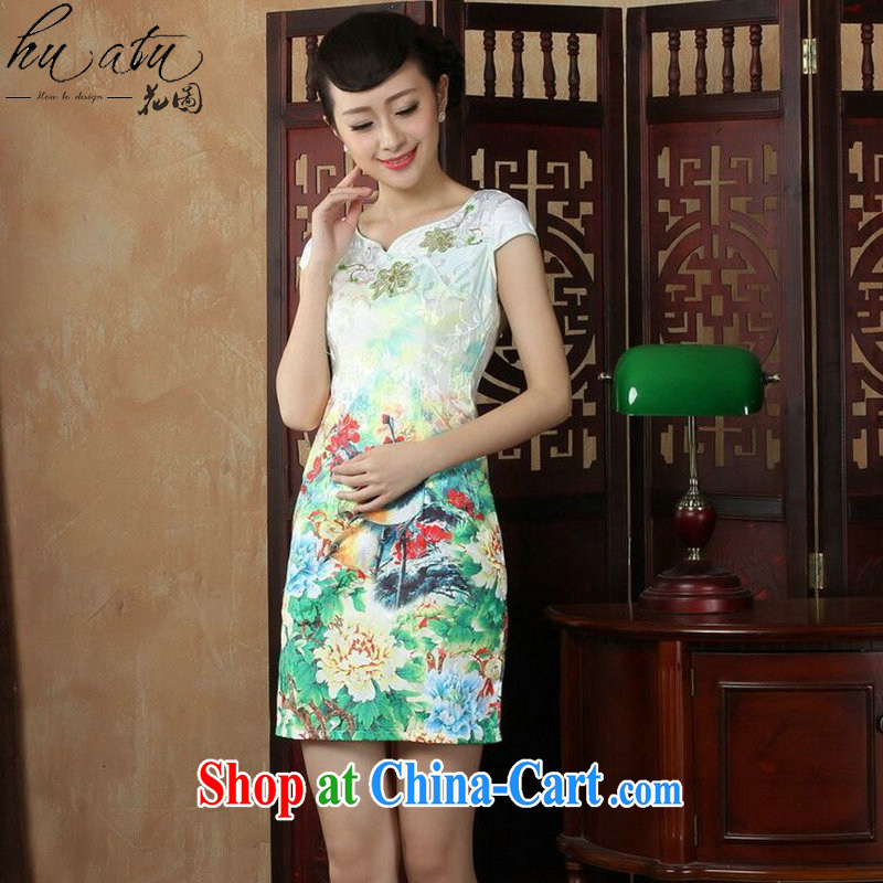 spend the summer with new female dresses daily improved short, Retro cheongsam dress beauty classical Chinese qipao as shown color XL, figure, and shopping on the Internet