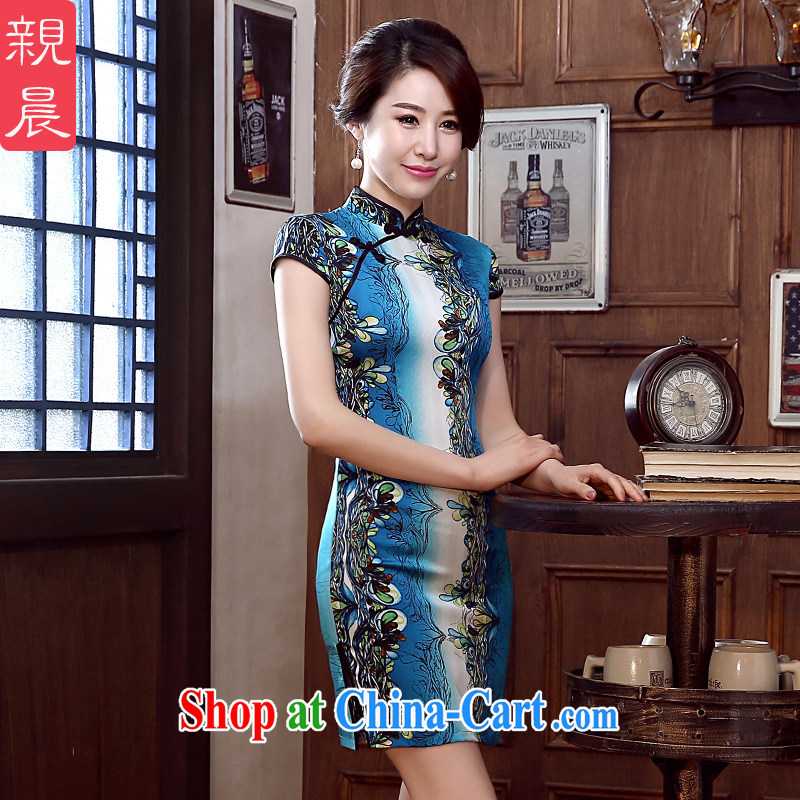 pro-am 2015 new cheongsam dress spring and summer daily retro sauna silk Silk Cheongsam dress improved stylish short 3 XL