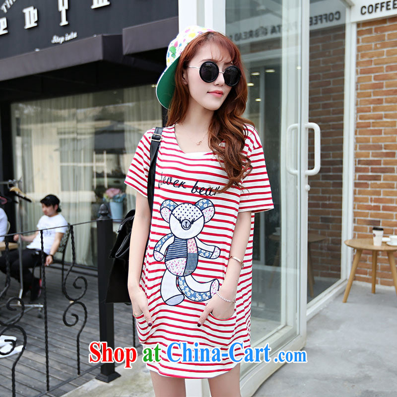 Ya-ting in store long T shirts female trend summer stylish new female V collar short-sleeve classic stripes Korean T shirts small shirts red stripe code