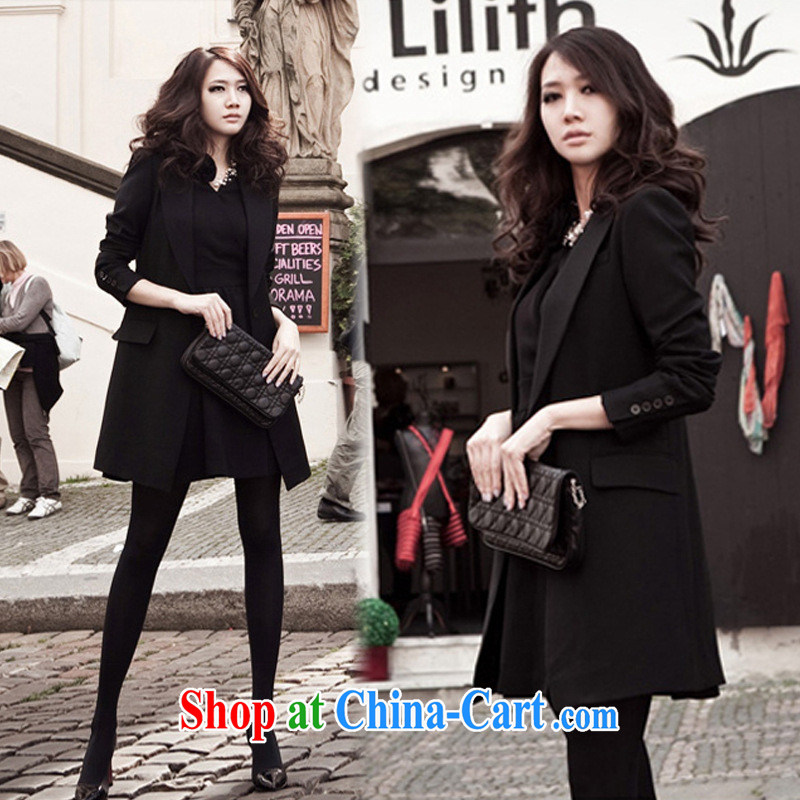 Ya-ting store small suits the new women with large lapel style commuter relaxed, long jacket and fashionable black 2 XL