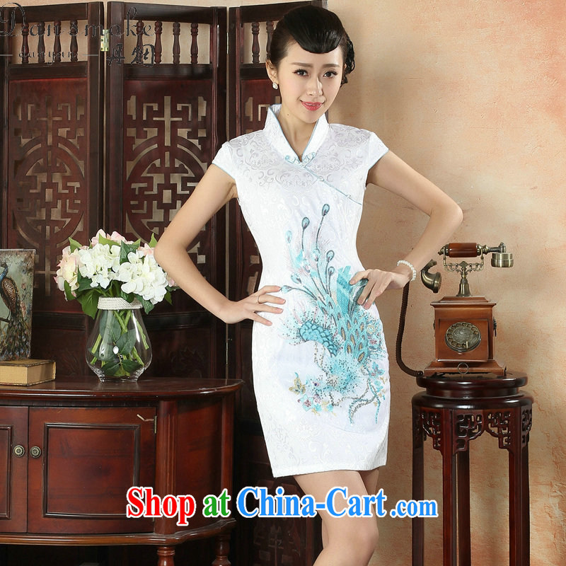 Bin Laden smoke new cheongsam dress summer retro daily Chinese, for national wind women's clothing improved cotton dress as color 2XL