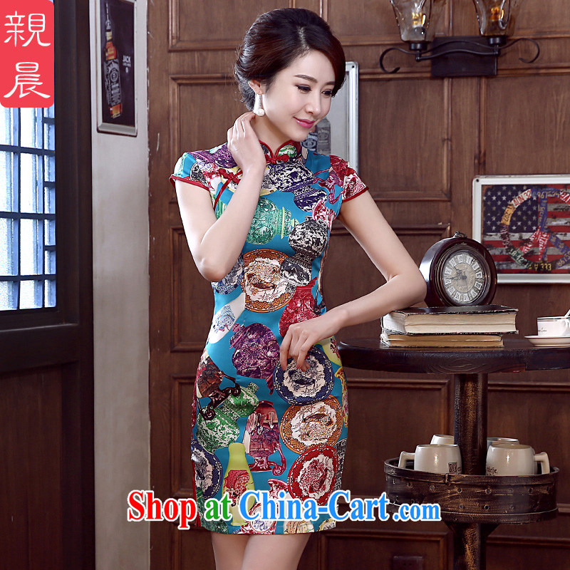 pro-am 2015 New Silk Cheongsam dress spring and summer is short, short-sleeved daily outfit skirt improved stylish short XL