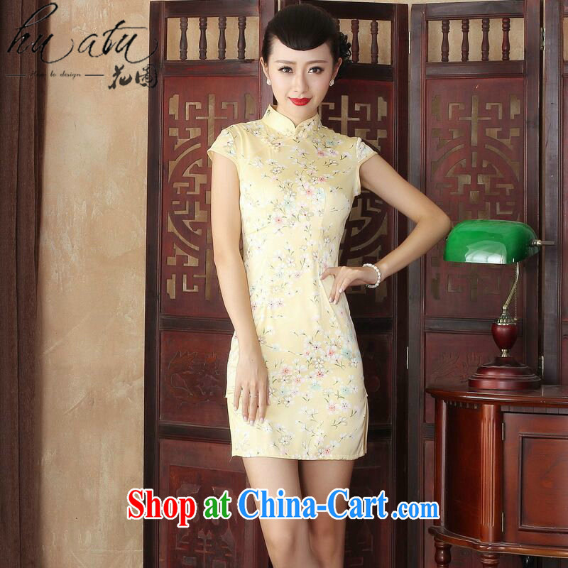 Take the female summer new cheongsam dress stylish improved Chinese floral retro short cheongsam dress daily figure color 2 XL