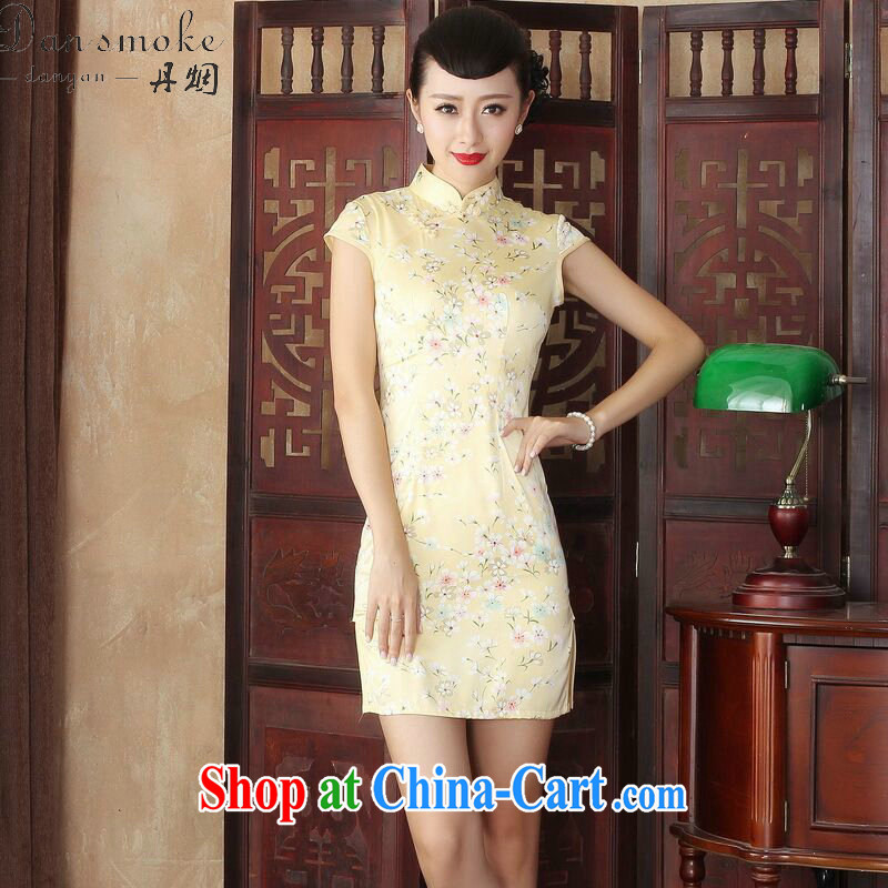 Dan smoke female summer new cheongsam dress stylish improved Chinese floral retro daily short cheongsam dress figure-color 2 XL