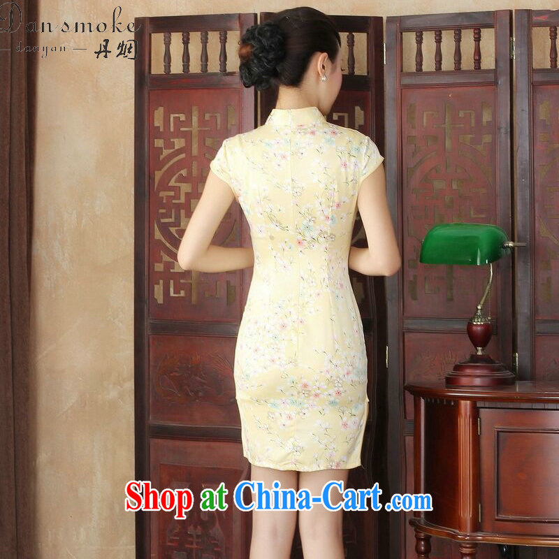 Dan smoke female summer new cheongsam dress stylish improved Chinese floral retro daily short cheongsam dress such as the color 2 XL, Bin Laden smoke, shopping on the Internet