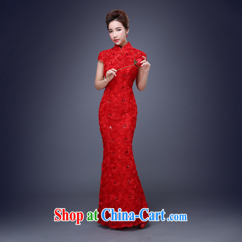 Cheng Kejie MIA toast serving red marriage bridal dresses 2015 new spring and summer short-sleeved beauty dresses long, short, red long S
