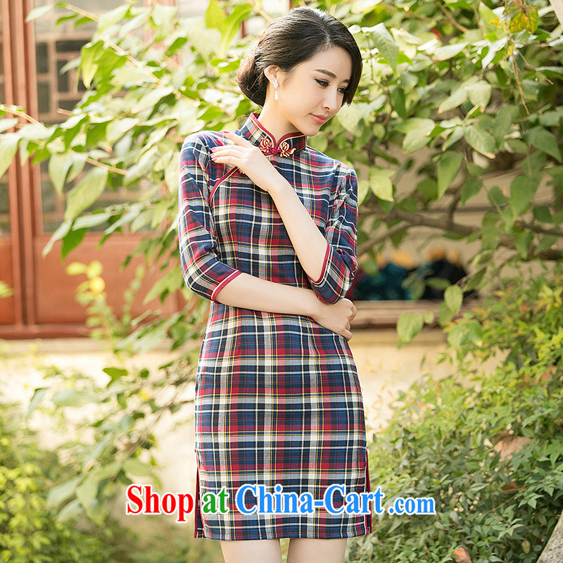 The cross-sectoral, Elisabeth Rehn, 2015 new outfit, Ms. summer tartan cuff in Korea retro fashion daily improved cheongsam dress 3 color ZA 102 red tartan M