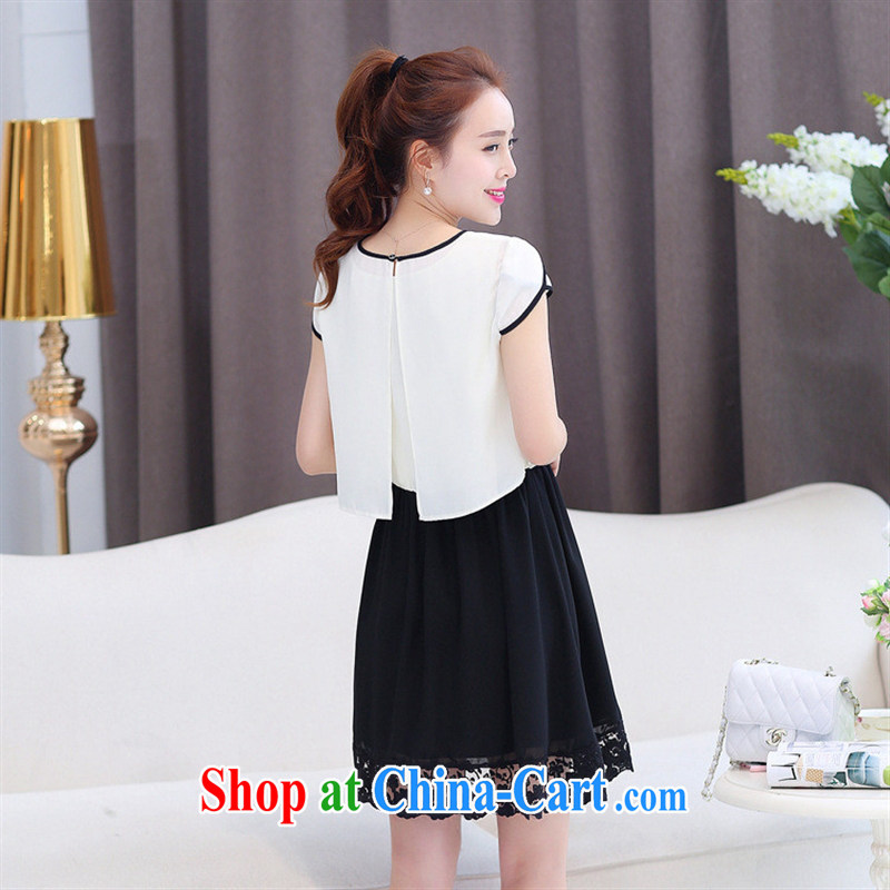 Ya-ting store snow woven shirts girls short skirts two-piece spring Korean girls solid color snow woven dresses stylish cuffs, a white XXL, blue rain bow, and shopping on the Internet