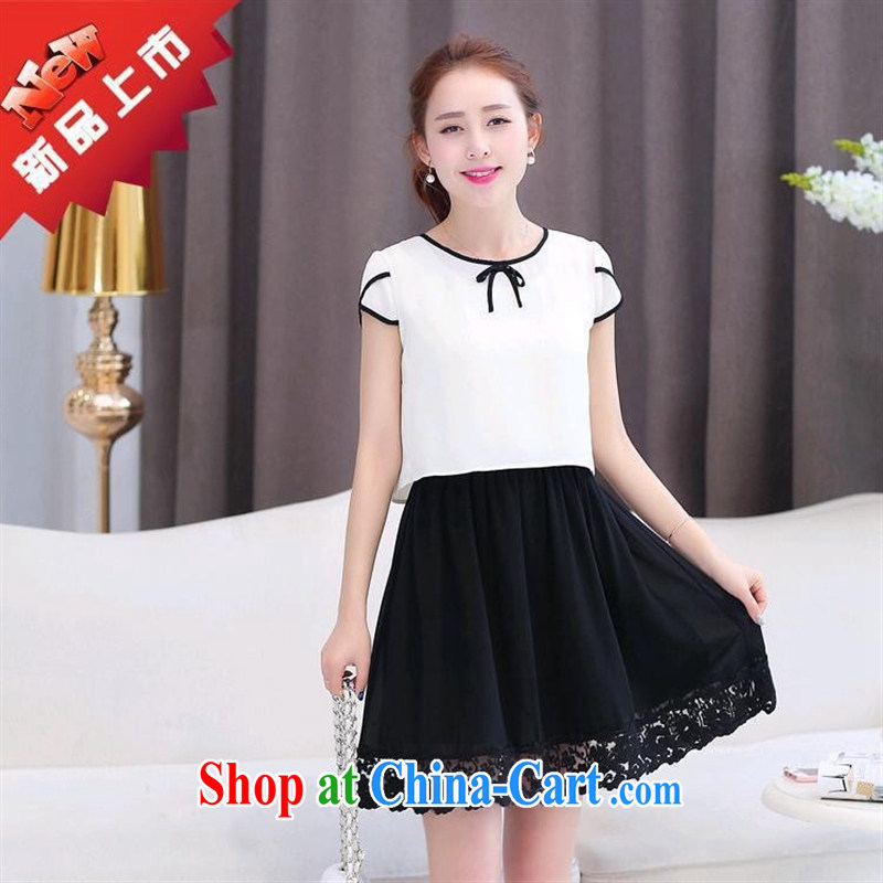 Ya-ting store snow woven shirts girls short skirts two-piece spring Korean girls with solid-colored snow woven dresses stylish cuffs, with white XXL
