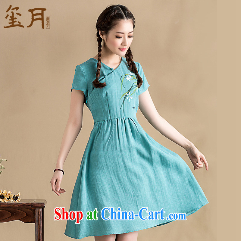 royal seal on the original spring 2015, literature and art nouveau cheongsam dress, daily short-sleeved V collar female short blue XXL
