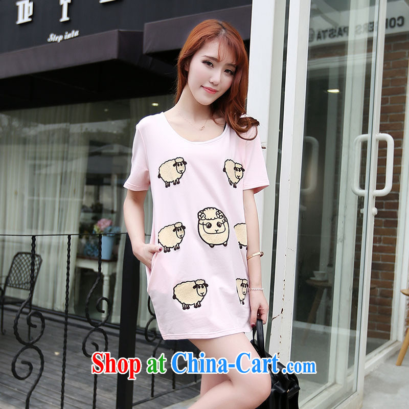 Ya-ting in store long T shirts female trend summer new female fashion round collar short-sleeved cartoon pattern T shirts small shirts pink are code