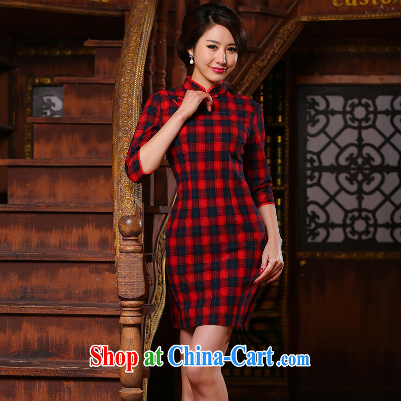 The cross-sha Yu heart 2015 New in the cuff collar tartan retro fashion daily improved cheongsam dress cultivating female ZA 316 red tartan 2 XL