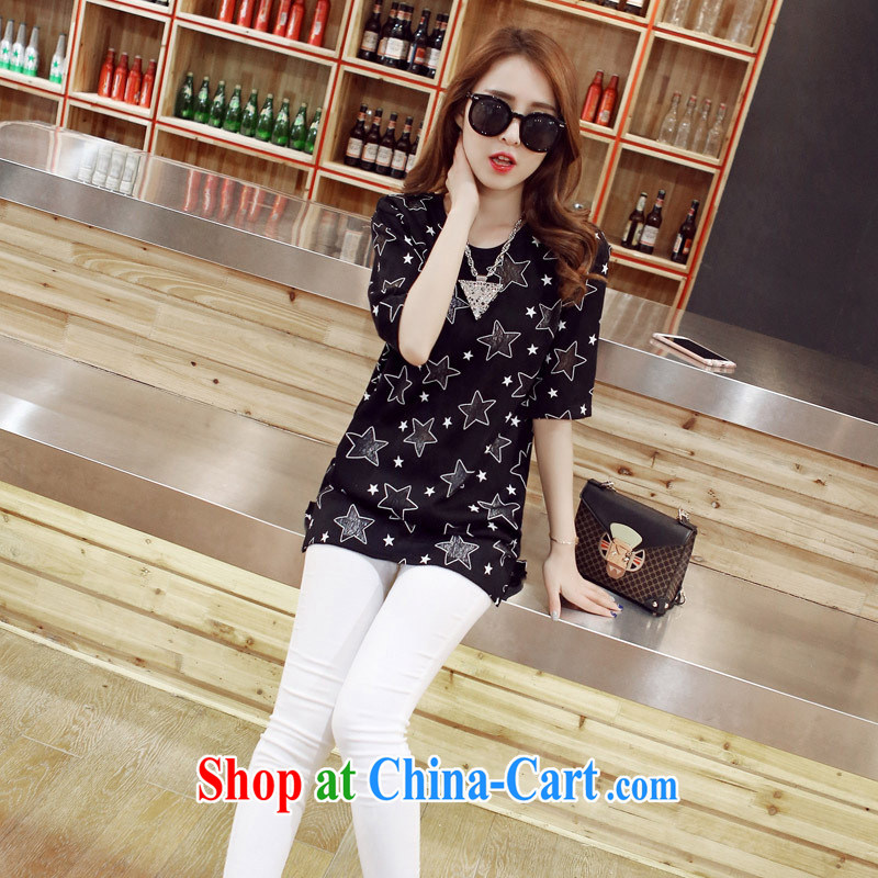 Ya-ting store T Ms. shirt, long 2015 new female Korean round-collar short-sleeve star pattern Shu body shirt white XL
