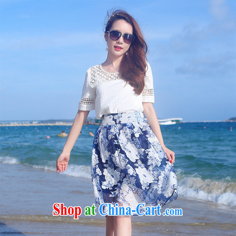 Ya-ting store snow woven shirts dresses Korean summer new women with round-collar Openwork graphics thin stamp skirt is cultivating two-piece white XL