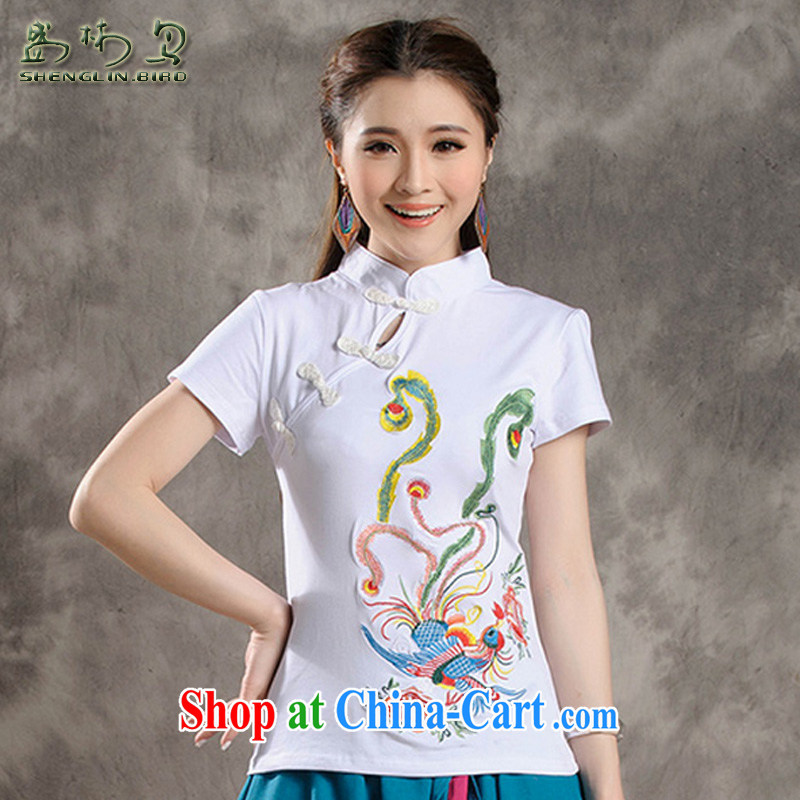 Summer new Ethnic Wind fine Embroidery is withholding cultivating improved short-sleeved dresses female sung lim bird 2015 the payment package mail white XXXXL
