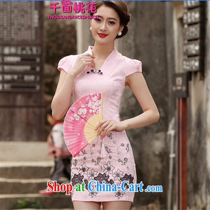 1000 the Peach Blossom Spring 2015 new spring Stylish retro short dresses summer improved cheongsam dress, daily outfit skirt pink XXL