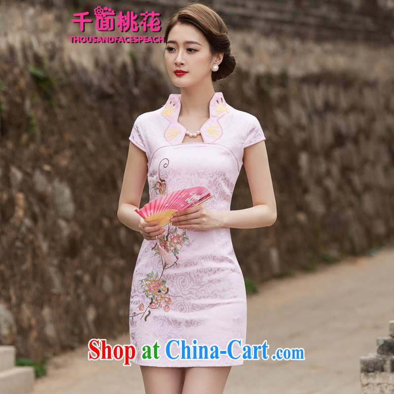 1000 the mahogany 2015 new summer fashion improved cheongsam dress daily video thin beauty Ms. cheongsam style short dress pink XL