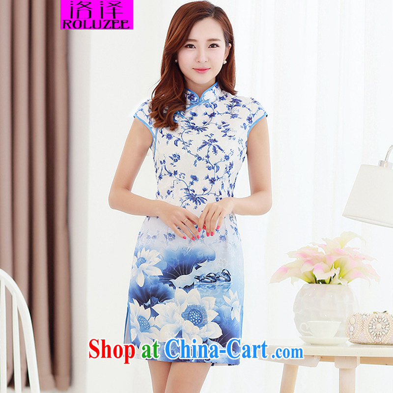 Los Angeles 2015 spring and summer new cheongsam beauty and elegant graphics thin stamp duty on maize cheongsam dress blue S