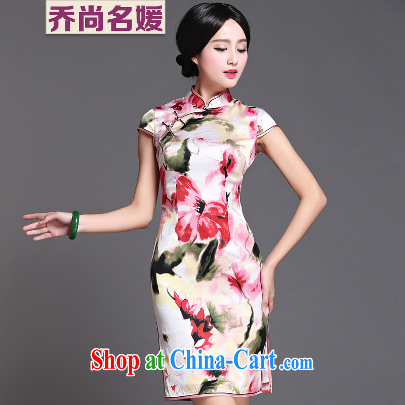Joe is still a high-heavy silk gathering improved cheongsam summer dresses ZS 010 white XXXL