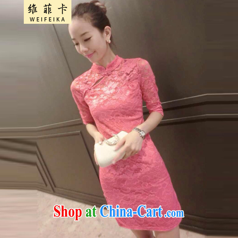 1D , the 2015 European site fall with new lace beauty graphics thin cheongsam dress pink XL