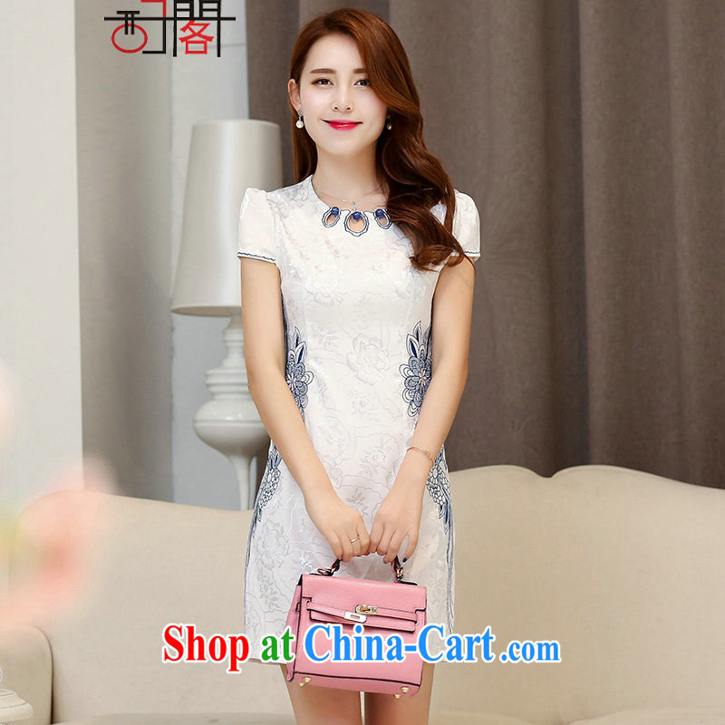 The sub-cabinet dresses summer pack and skirt, long, short cuff improved cheongsam dress short skirt Hester Prynne XXL