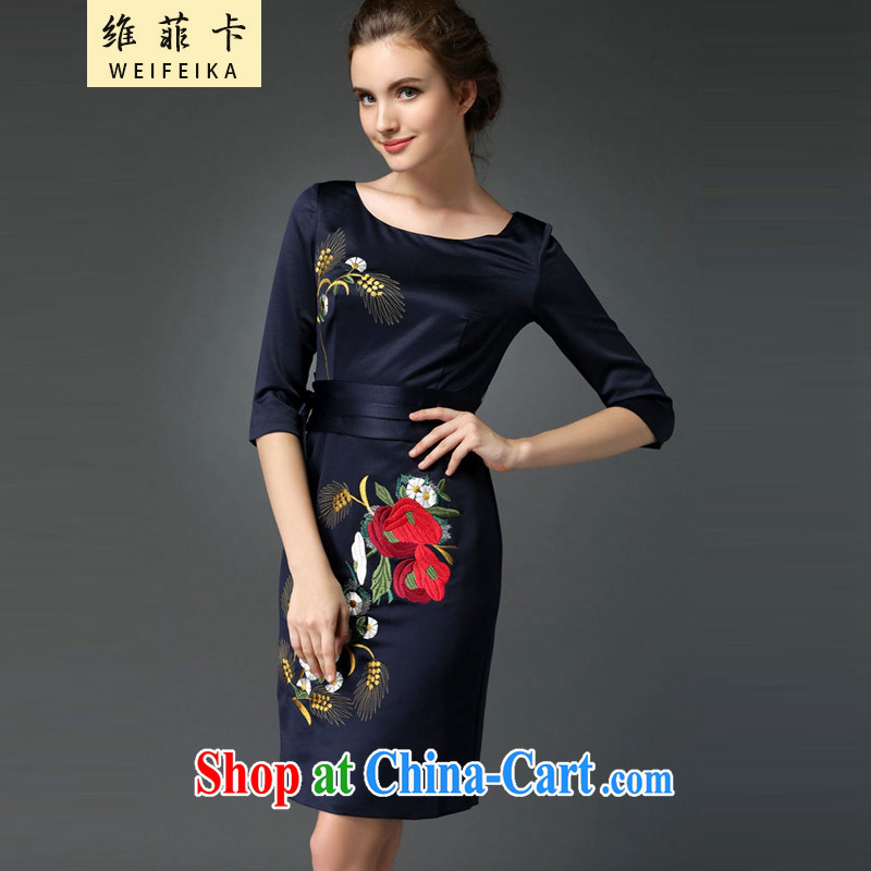 The Philippines card 2015 new elegant style evening gown embroidery cheongsam dress blue XXXL