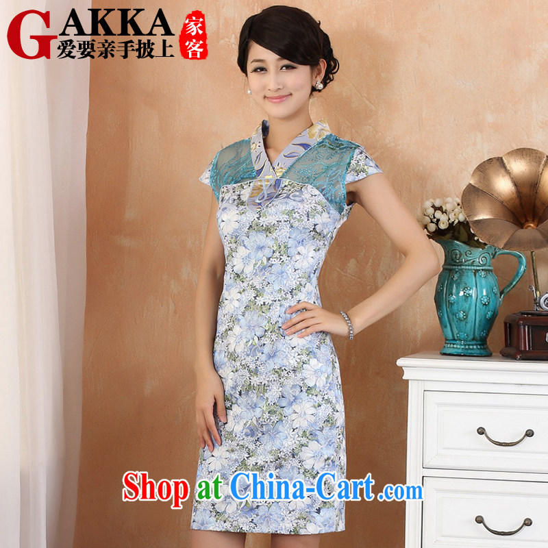 Gakka dresses new 2015 spring and summer retro, long, refined elegant lace spell series dress ethnic wind stamp lady, dresses for dark green blue XXL