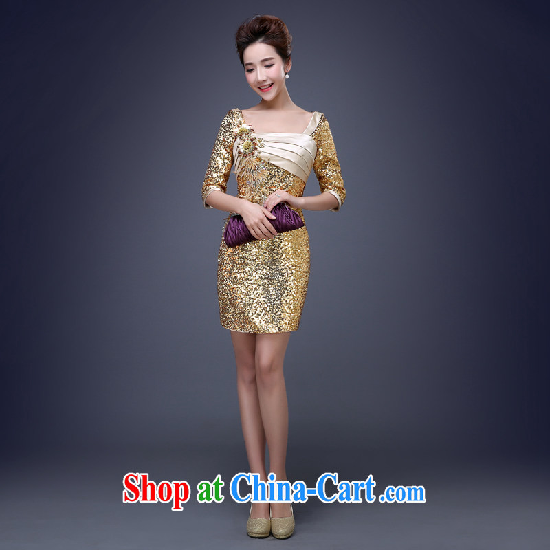 Jie MIA new 2015 Korean sexy package and light-gold short skirt dress Evening Dress will preside over our store performance gold XXL