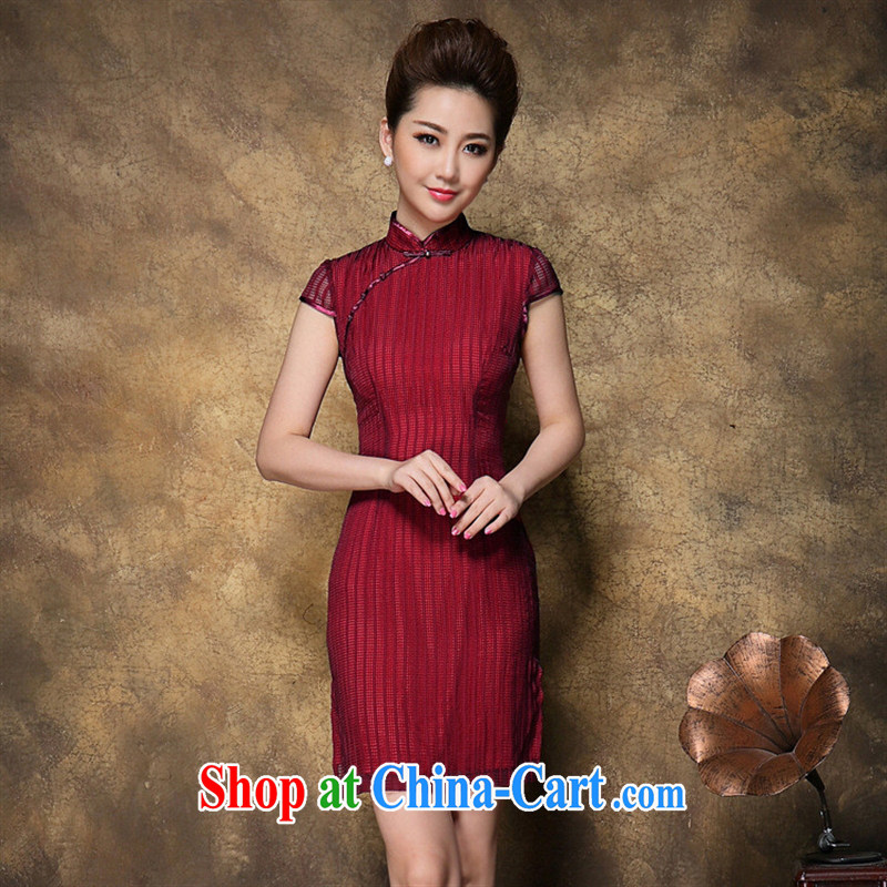 Ya-ting store summer 2015 new Web yarn cover sleeve tartan dresses skirts beauty aura cheongsam dress graphics thin red XL