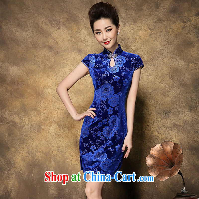 Ya-ting store mahogany drops for a cheongsam dress Chinese old beach retro style summer new blue XXL