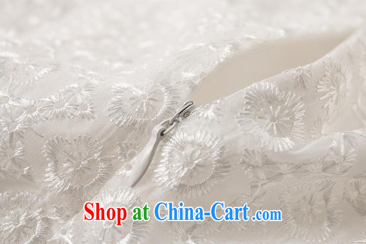 Ya-ting store summer 2015 new Chinese qipao dress snowflake embroidered sleeveless white dresses short white aura XL pictures, price, brand platters! Elections are good character, the national distribution, so why buy now enjoy more preferential! Health