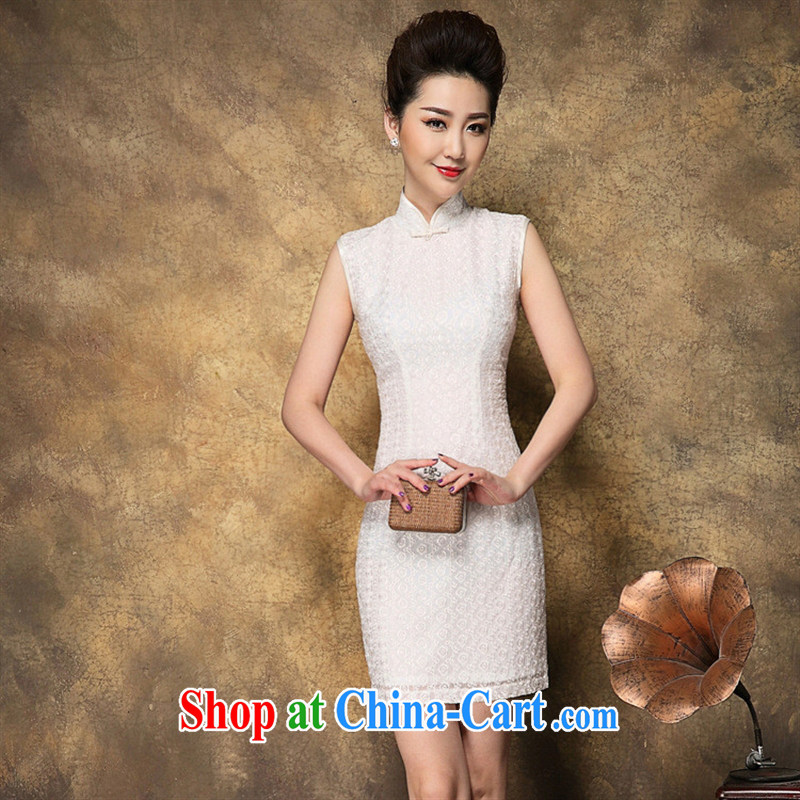 Ya-ting store summer 2015 new Chinese qipao dress snowflake embroidered sleeveless white dresses short style white XL